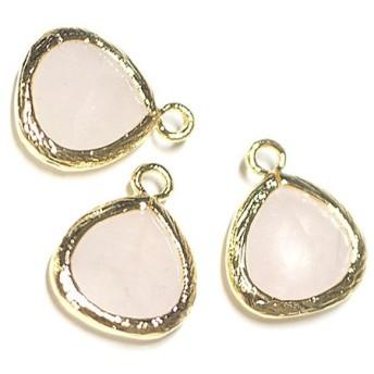 【1個】1点もの ローズクォーツ(rose quartz)天然石ゴールド仕上げSMALLチャーム、パーツ