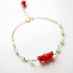 「8/13まで送料無料」 「Creema限定送料無料」 珊瑚 冷静と情熱 bracelet 天然石ブレスレット