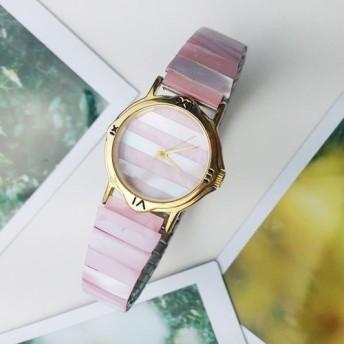 可愛な イチゴのアイスクリーム 天然石 碟貝 伸縮式 のバンド 腕時計