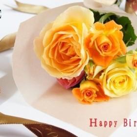 010)花の誕生日カード(文字入り) 5枚組