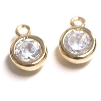 再販【2個】誕生石!4月ダイヤモンドカラーCZゴールドチャーム、パーツ