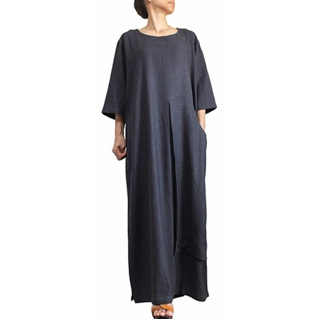 柔らかヘンプのビッグポケットドレス 墨黒 (DNN-096-01)