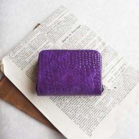 エナメル*クロコダイル紫 ラウンドファスナー小銭入れ