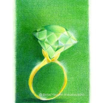 【原画】 色鉛筆画 グリーンの指輪