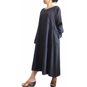 柔らかヘンプのタック入りドレス 墨黒 (DNN-093-01)