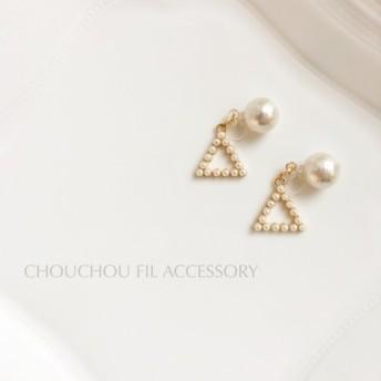 back triangle pearl earring