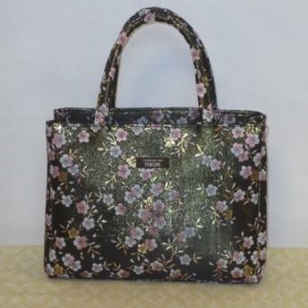 金襴バッグ 和柄桜黒