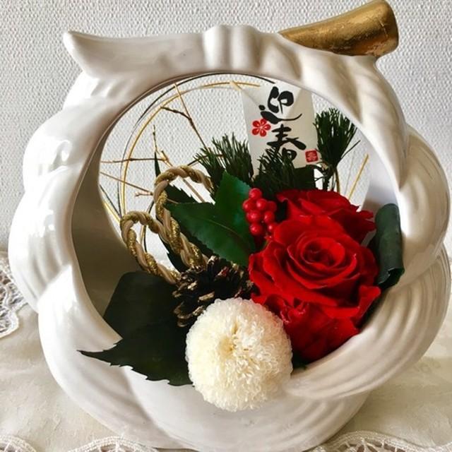 再販★真紅バラのお正月アレンジ SHIMENAWA
