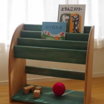 木製絵本棚(マガジンラック) 60幅 古松-緑-古松