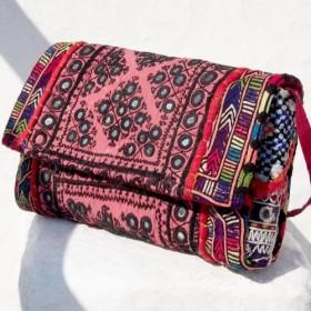 限定版手作りの刺繍古布メッセンジャーバッグ/国家風バッグ/ショルダーバッグ/ショルダーバッグ/ハンドバッグ/バッグ刺繍 - 砂漠