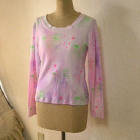 ハンドプリント星とくもと雨柄長袖 Tシャツ