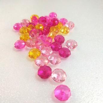 ◆そろばん 多面カット アクリルビーズ ピンク系ミックス きらきら 30個 春