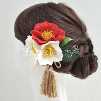 赤椿と白椿の髪飾り
