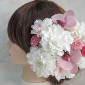 白とピンクの絢爛可愛いヘッドドレス 和装の花嫁様へ