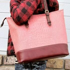 【受注生産】 本革トートバッグ クロコ型押しのピンク×ボルドー