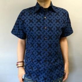 吉兆藍木綿シャツ(六弥太格子)