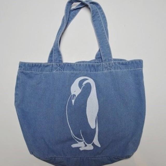 ペンギン、デニムトートバッグ (大)ライトブルー