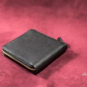 ラウンドファスナー二つ折り財布 ボックス小銭入れ イタリア製牛革ブラック×ゴートスキン(山羊革) [受注生産]