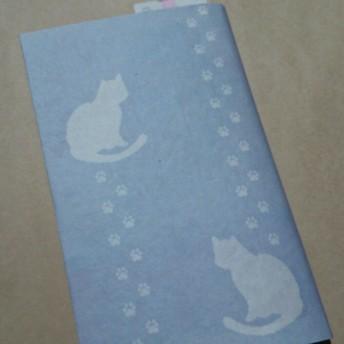 栞付き・和紙ブックカバー(新書サイズ)グレー地にピンクねこ