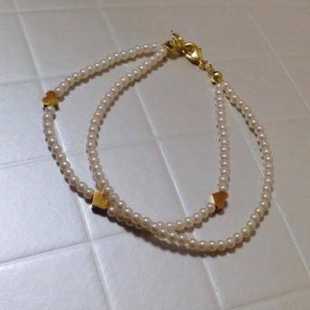 Fake pearl & heart beads bracelet