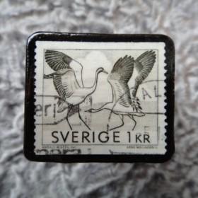 スウェーデン 切手ブローチ 573