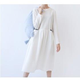★SALE★【L】両ポケット付きシンプルな長袖ワンピース♪