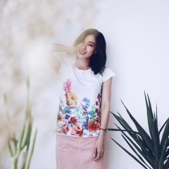 ホリホック花 - 手作りライトコットン半袖TシャツSsize