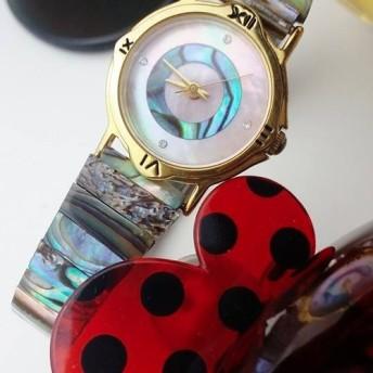 可愛な アイスクリーム 天然石 碟貝 彩貝 伸縮式 のバンド 腕時計