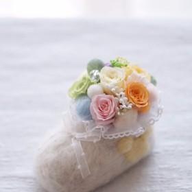 プリザーブドフラワーアレンジ☆ベビーシューズ☆出産祝い誕生日