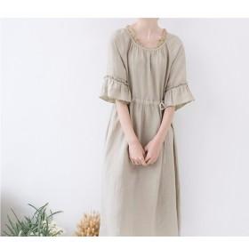 【M】ふんわりで襟、袖フリル付きゆったり五分袖ワンピース♪