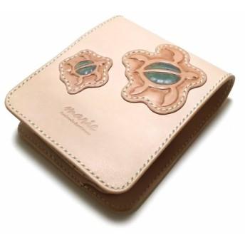 marie/マリー 本革製レザーハーフウォレット/亀/二つ折り財布/カービング