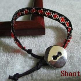 ミサンガ風ラップブレスレット 赤&黒