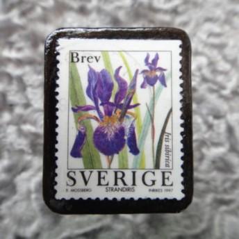 スウェーデン 切手ブローチ 604