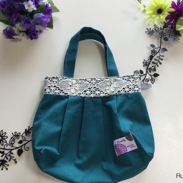 鮮やかな発色がキレイ!綿麻グラニーバッグ ピーコックブルー Sサイズ <ランチバッグにオススメサイズ!>