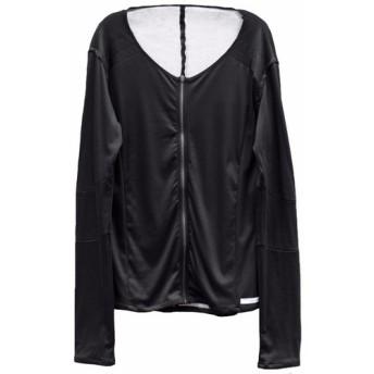 リバーシブルジップ切り替えマイクロスムース長袖ブラックカットソー Size 2