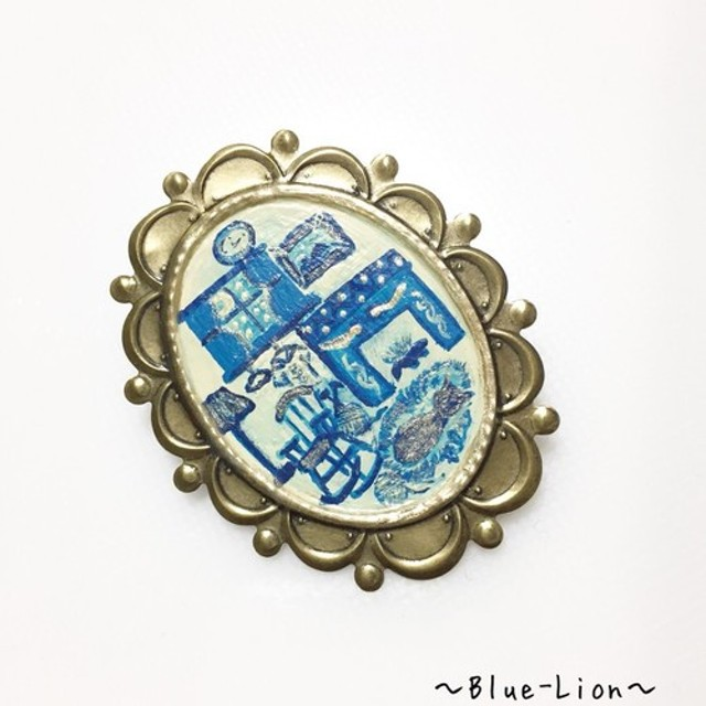 「再販」手描きブローチ(冬)☆猫の気持ち☆