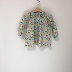 【50%offsale】チューリップ柄スモック長袖ブルー サイズ100
