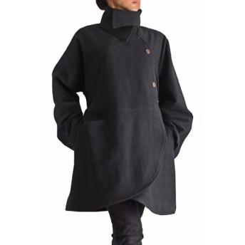 ジョムトン手織綿ベルト付きラウンドシェイプコート 黒(JFS-091-01)