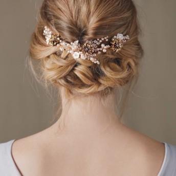 スワロフスキーヘレナ - 。スワロフスキークリスタルパール。花嫁の頭飾り。古代ゴールド