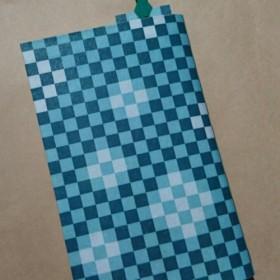 栞付き・和紙ブックカバー(新書サイズ)市松模様・緑