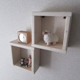 木の壁掛け棚(小2個)ホワイト