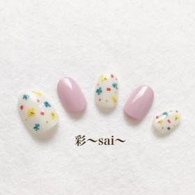 ピンク☆キュートな押し花ネイル☆フラワー☆花