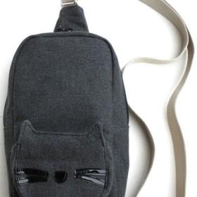 【送料無料】ワンショルダーバッグ リュック ミニ キャンパス ブラック 猫柄 猫 グッズ 雑貨 かわいい