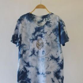快適な手染めisvara塗装ブルー色素染色ユニバースシリーズ月三日月コットンTシャツ