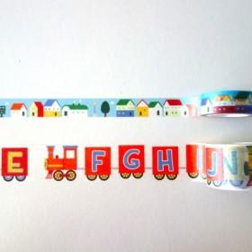 鉄道シリーズ紙テープバンドル:英語アルファベットトレイン+小さな家ストリート