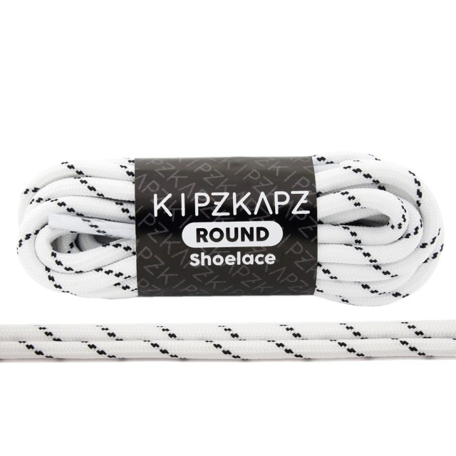 KipzKapz RS45 White Black Stripes 90cm / 115cm / 140cm / 160cm - Tali Sepatu Bulat / Round Shoelace: Rp 28.000