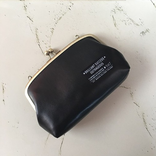 大容量 親子がま口長財布 お財布バッグ 黒 合皮 レザー