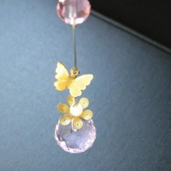 蝶々のローズクォーツ お花のミニサンキャッチャー 天然石