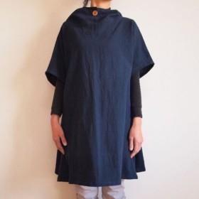 Kimamaフードチュニック(木綿 濃紺)【受注生産対応】
