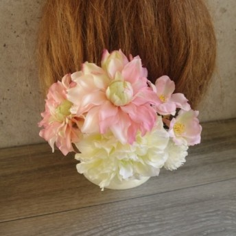 ピンク&クリームダリアの花飾り【171211-1】